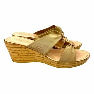 Italian Shoemakers Bronze Cork Wedges